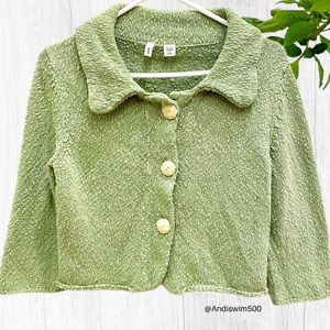 Anthro Moth Green 3/4 Sleeve Cropped Cardigan; S